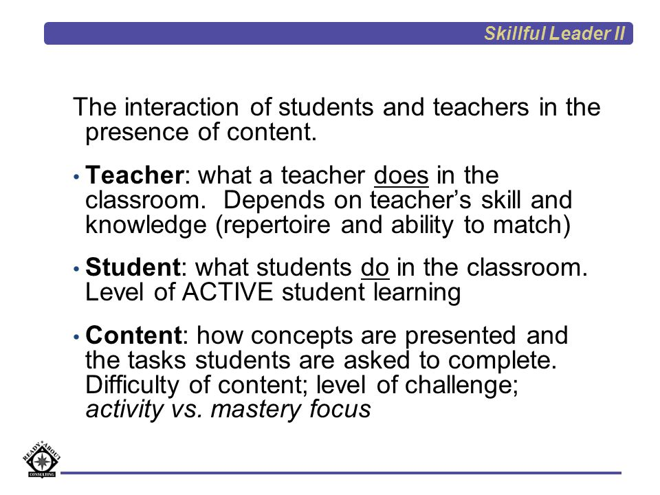 The interaction of students and teachers in the presence of content.