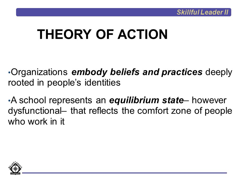 Skillful Leader II THEORY OF ACTION. Organizations embody beliefs and practices deeply rooted in people's identities.