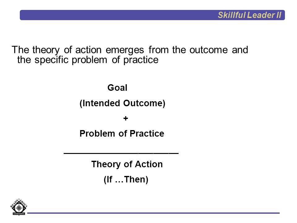 Skillful Leader II The theory of action emerges from the outcome and the specific problem of practice.