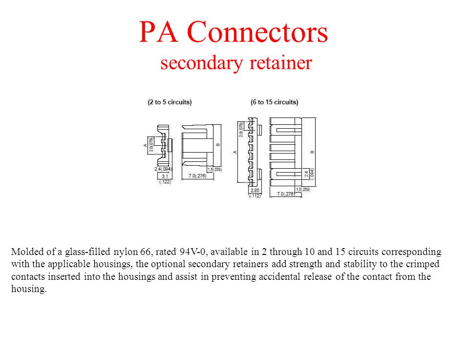 PA Connectors secondary retainer