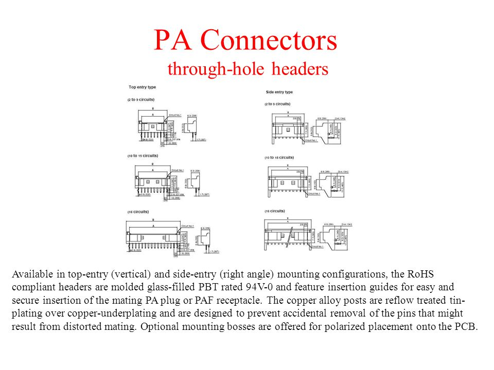 PA Connectors through-hole headers