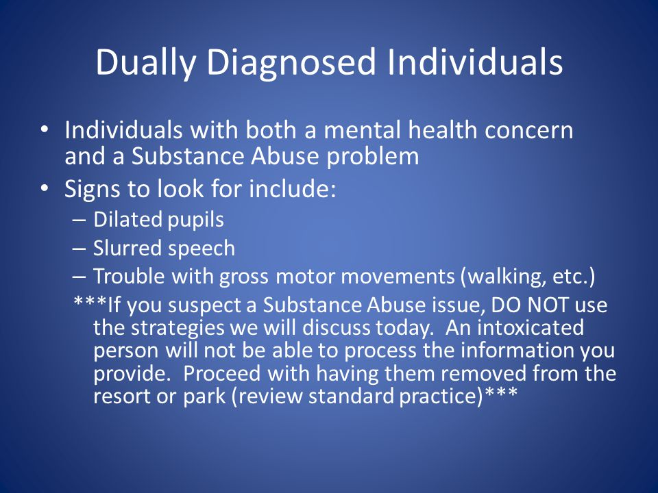 Dually Diagnosed Individuals