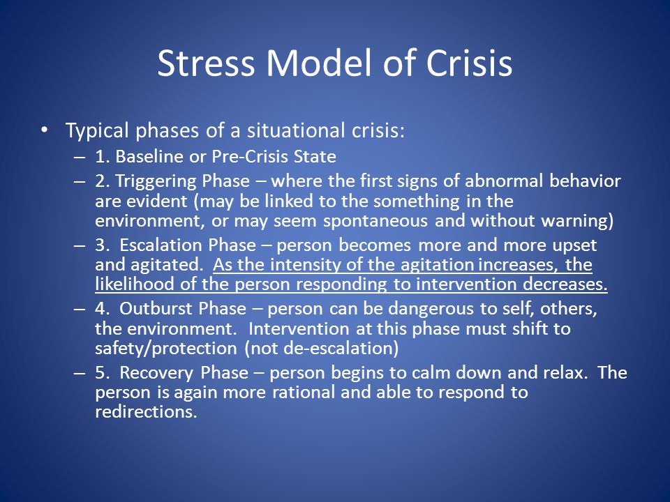Stress Model of Crisis Typical phases of a situational crisis: