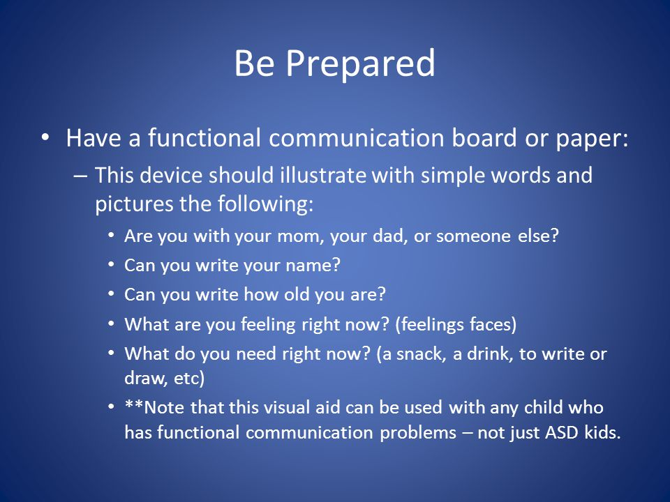 Be Prepared Have a functional communication board or paper: