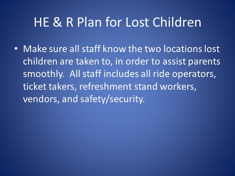 HE & R Plan for Lost Children