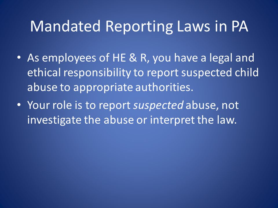 Mandated Reporting Laws in PA