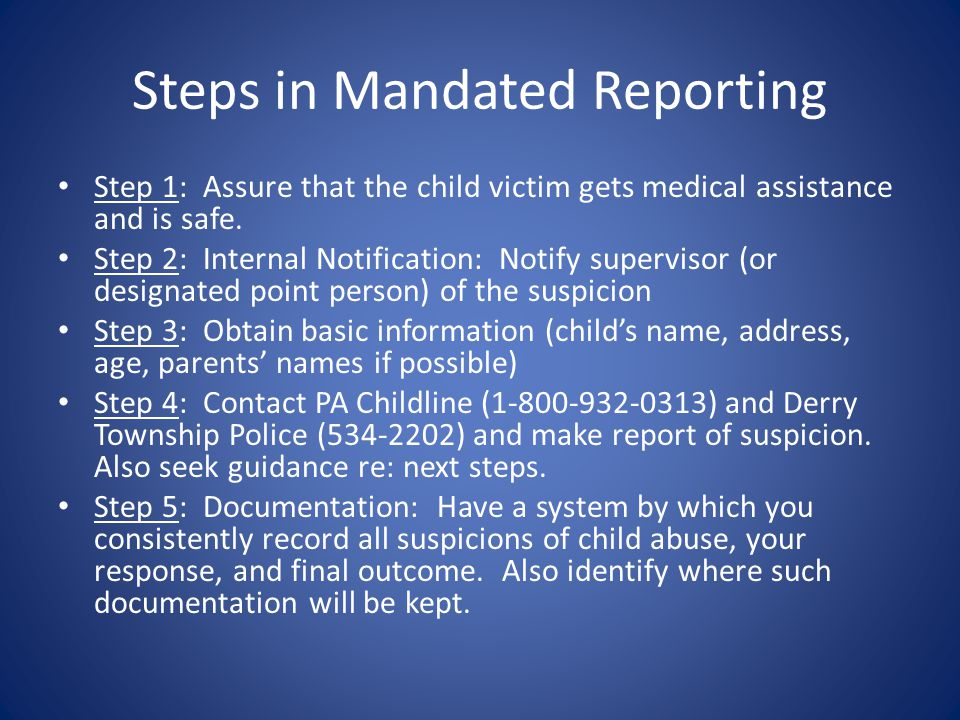 Steps in Mandated Reporting