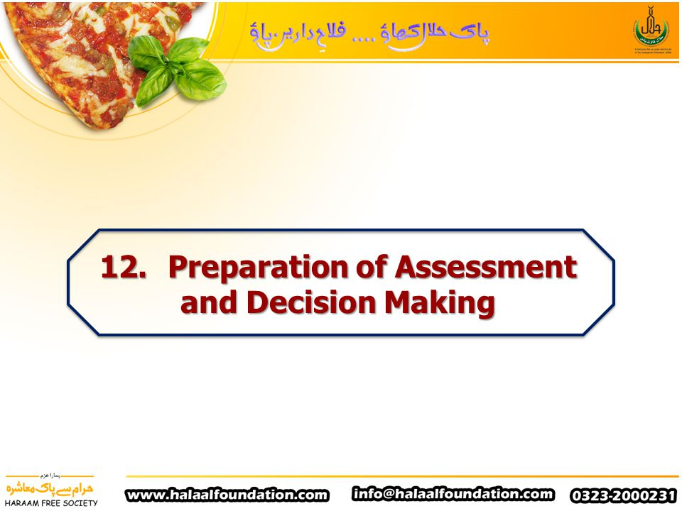 12. Preparation of Assessment and Decision Making