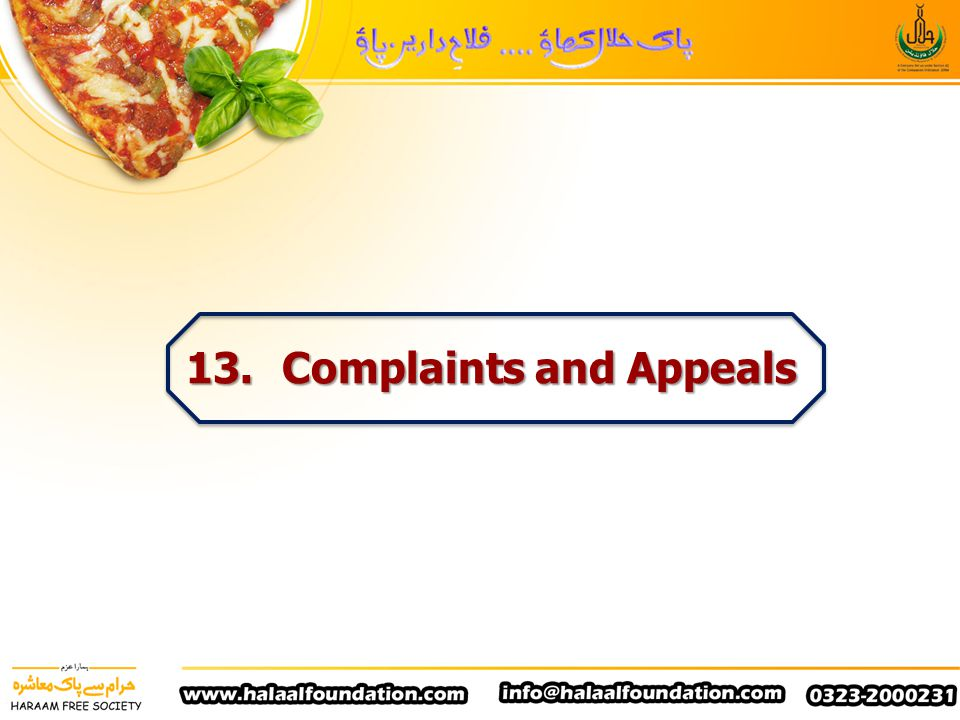 13. Complaints and Appeals