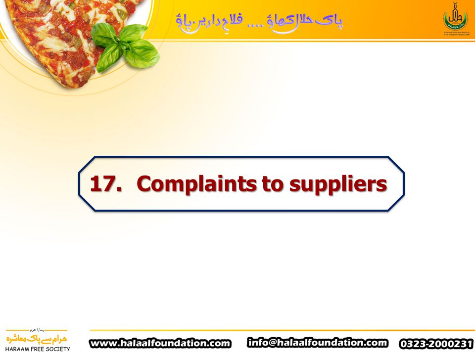 17. Complaints to suppliers