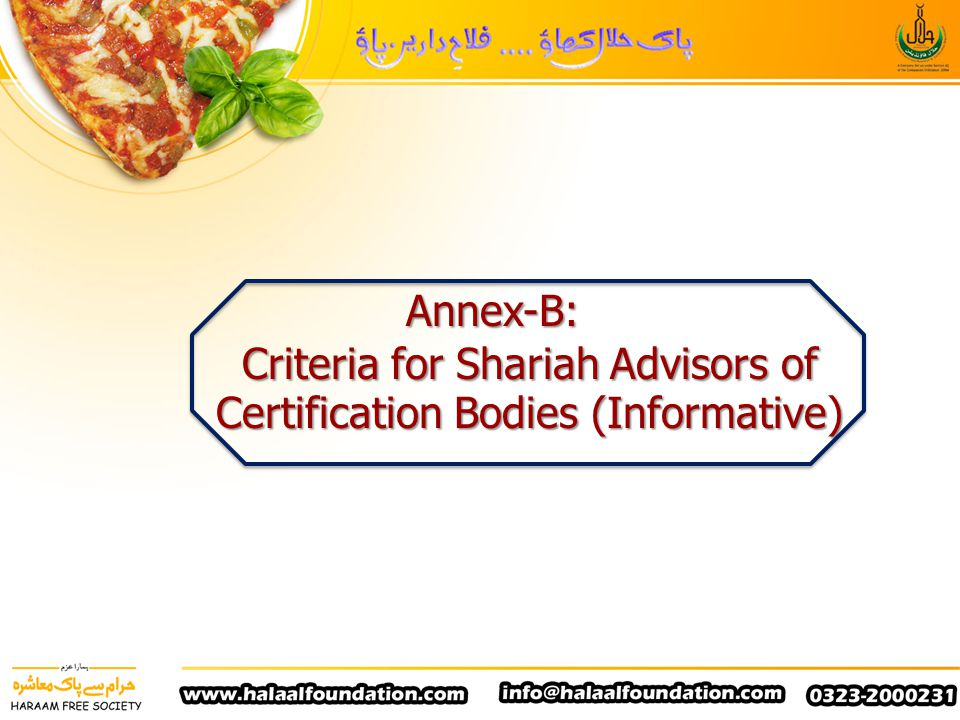Criteria for Shariah Advisors of Certification Bodies (Informative)