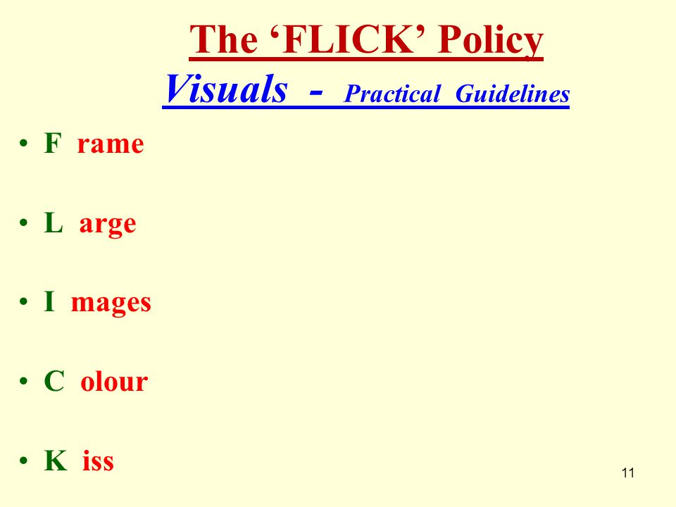 The 'FLICK' Policy Visuals - Practical Guidelines