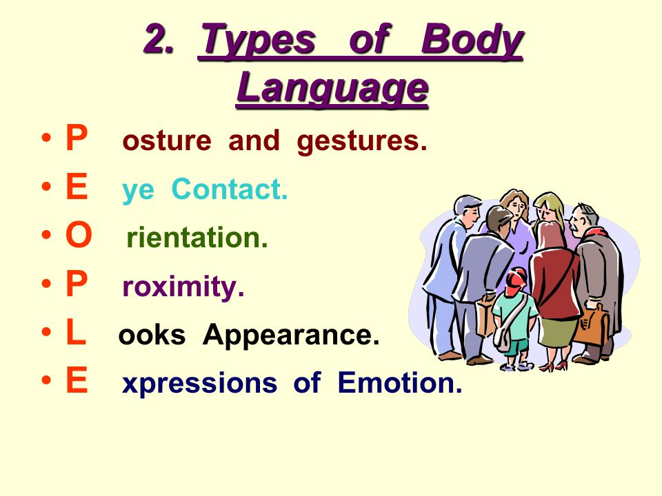 2. Types of Body Language P osture and gestures. E ye Contact.