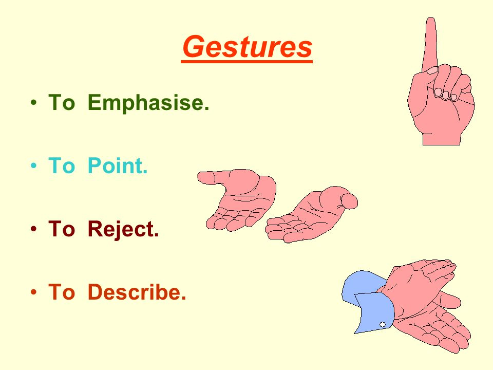 Gestures To Emphasise. To Point. To Reject. To Describe.