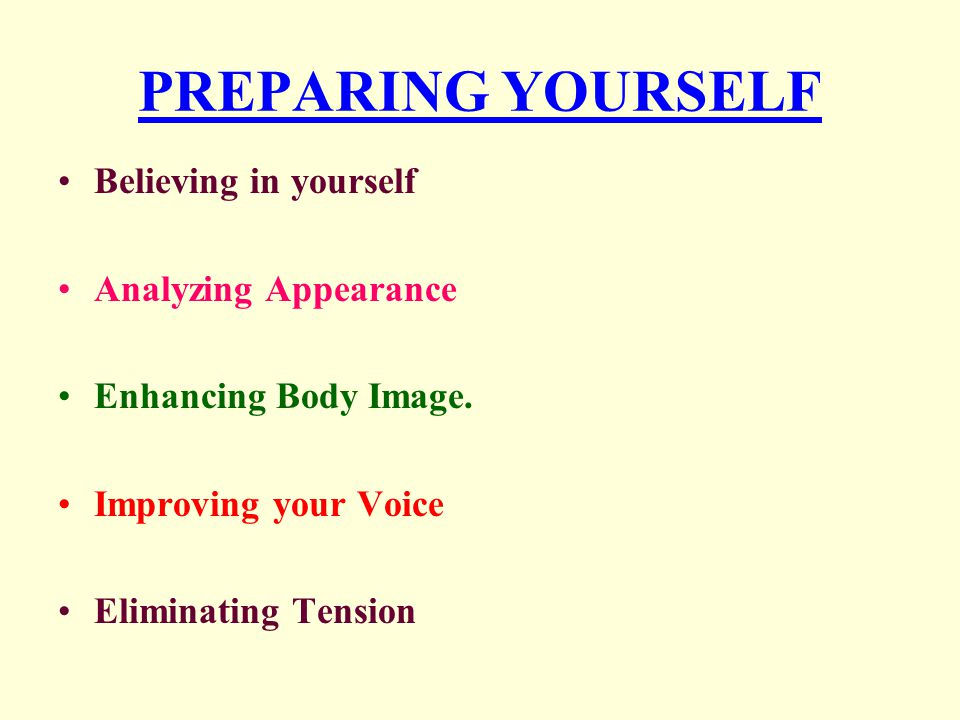 PREPARING YOURSELF Believing in yourself Analyzing Appearance
