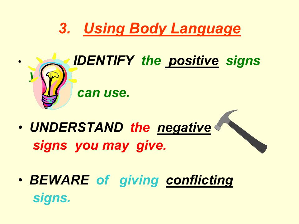 3. Using Body Language can use. UNDERSTAND the negative