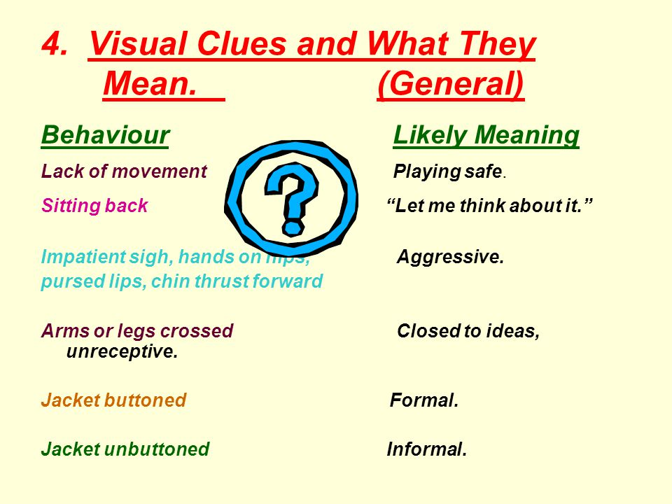 4. Visual Clues and What They Mean. (General)