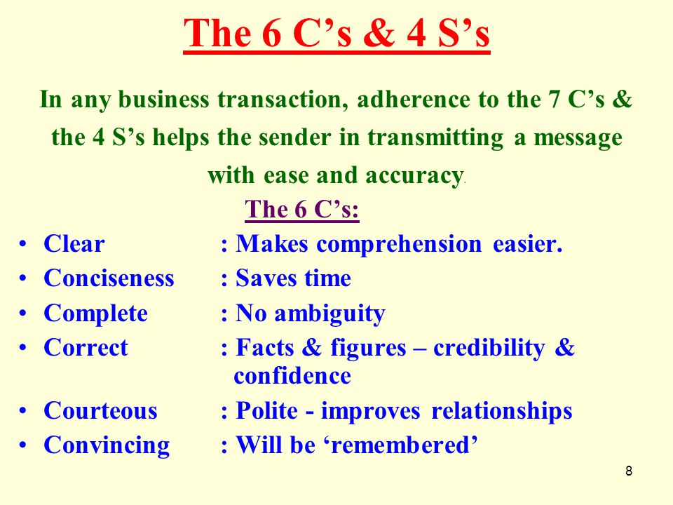 The 6 C's & 4 S's In any business transaction, adherence to the 7 C's & the 4 S's helps the sender in transmitting a message.