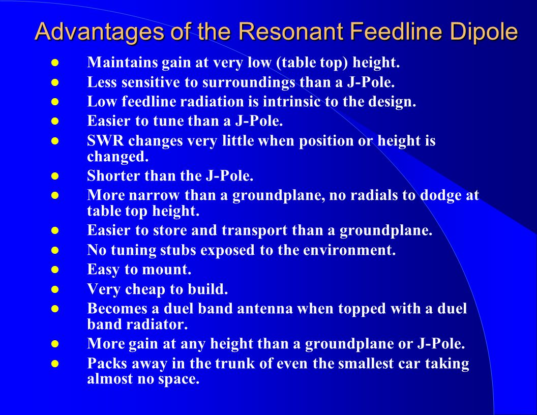 Advantages of the Resonant Feedline Dipole