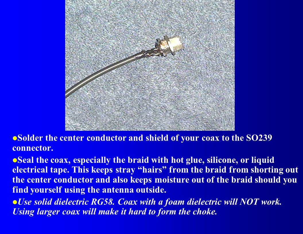 Solder the center conductor and shield of your coax to the SO239 connector.