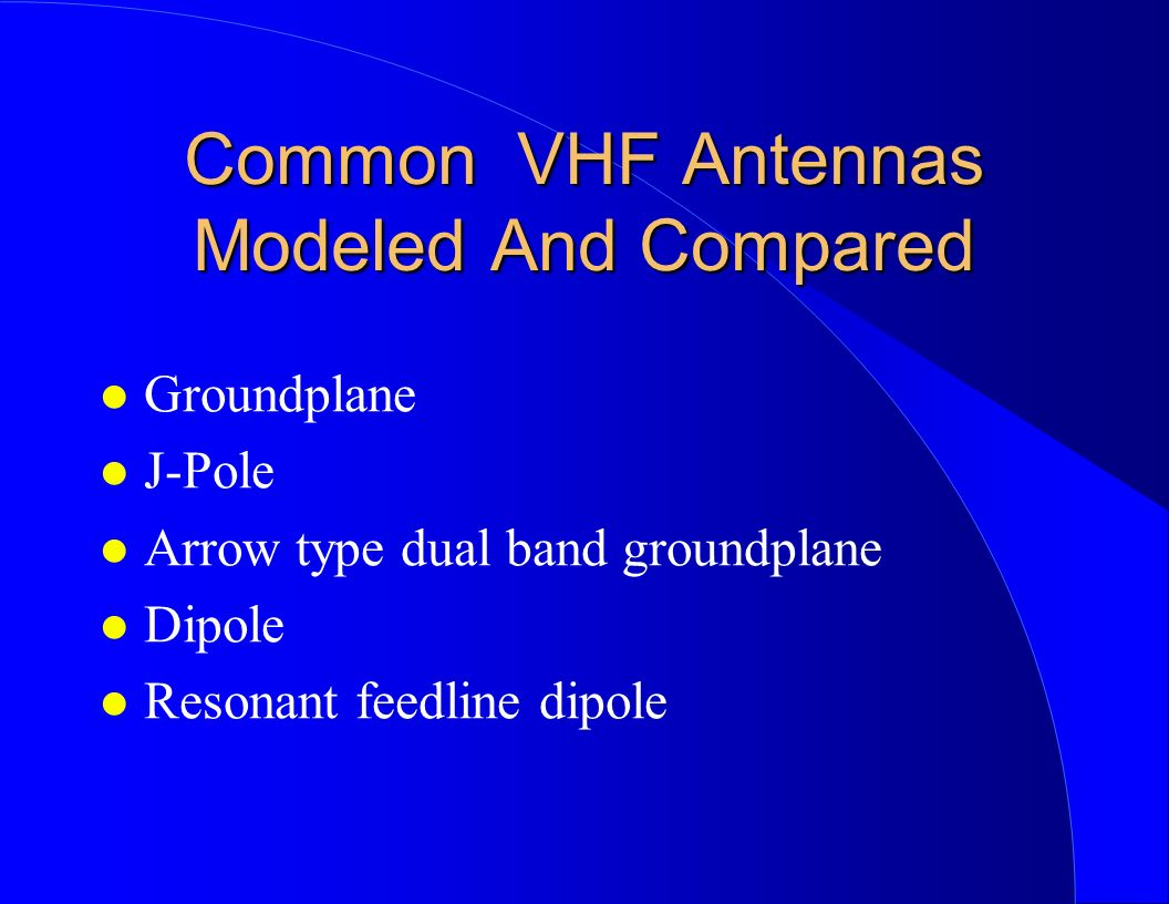 Common VHF Antennas Modeled And Compared