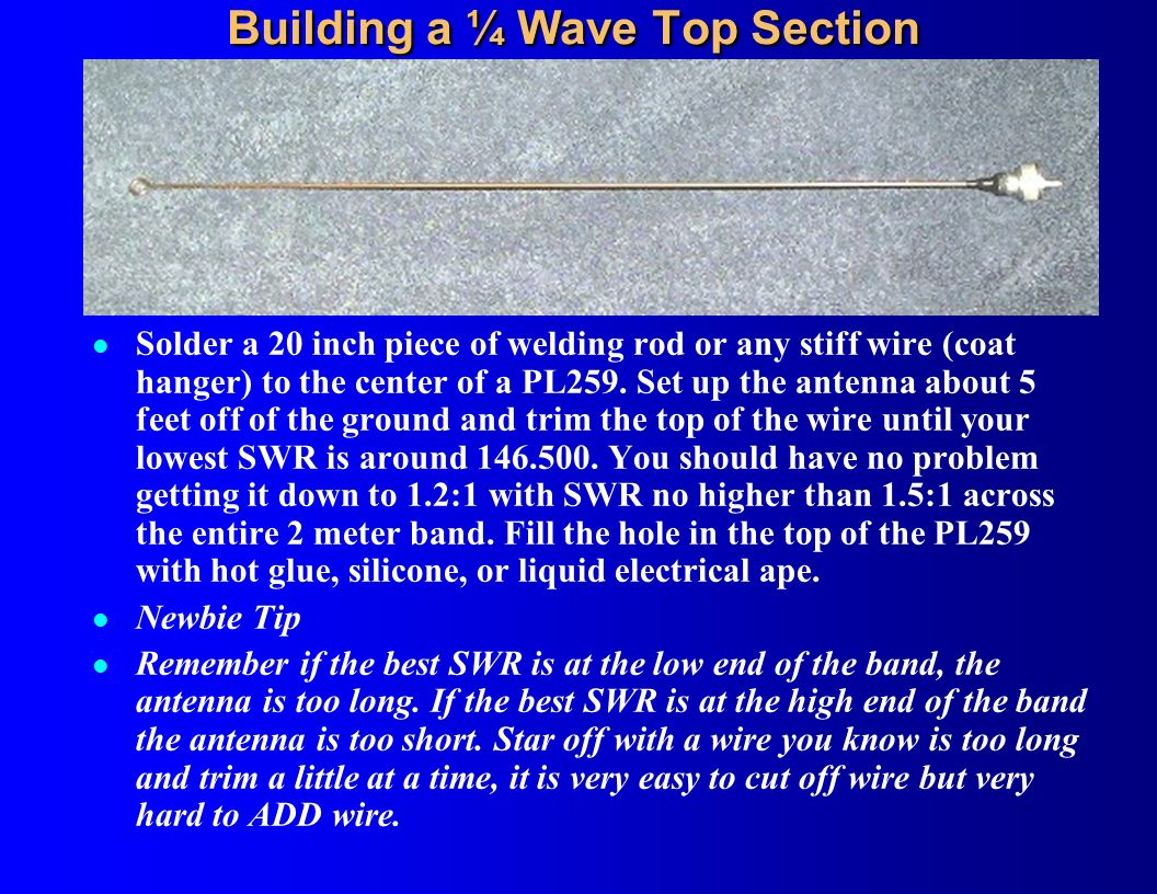 Building a ¼ Wave Top Section
