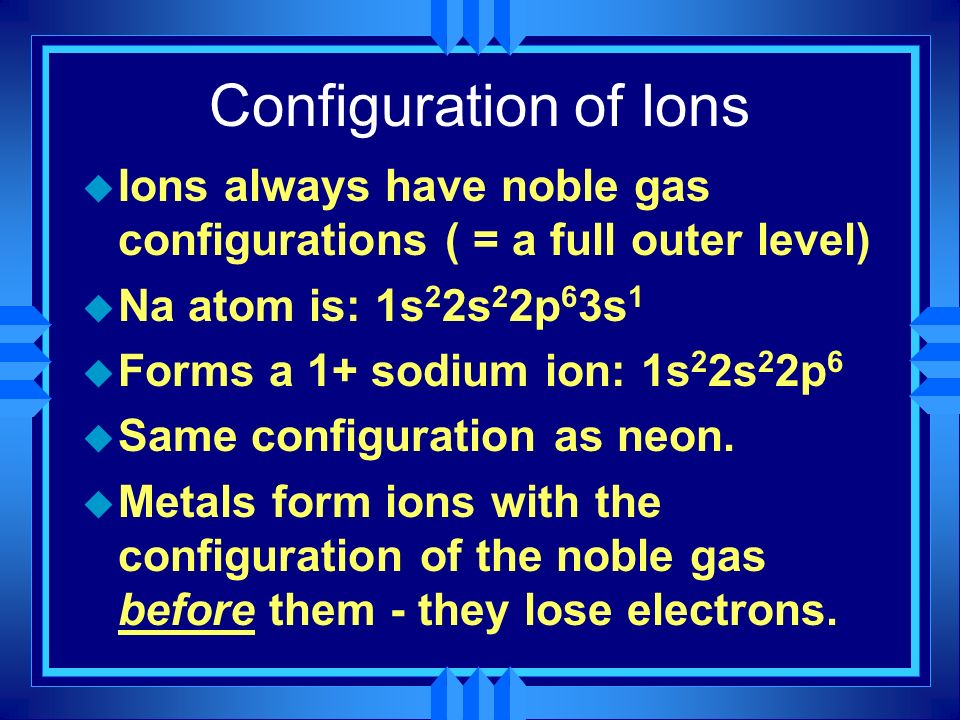 Configuration of Ions Ions always have noble gas configurations ( = a full outer level) Na atom is: 1s22s22p63s1.