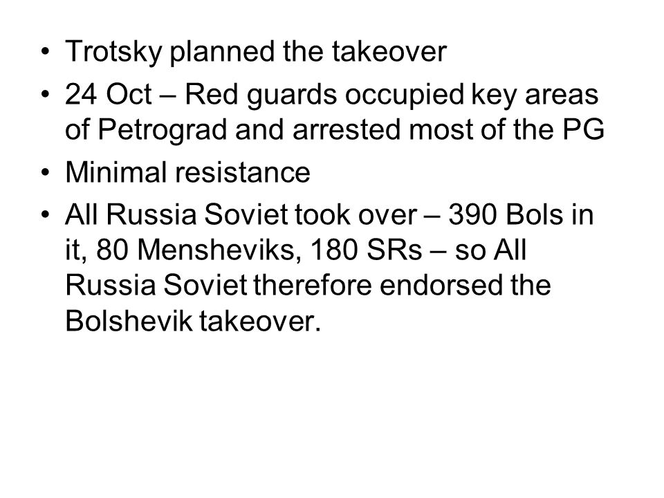 Trotsky planned the takeover