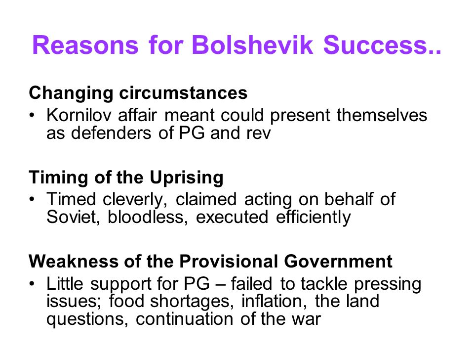 Reasons for Bolshevik Success..