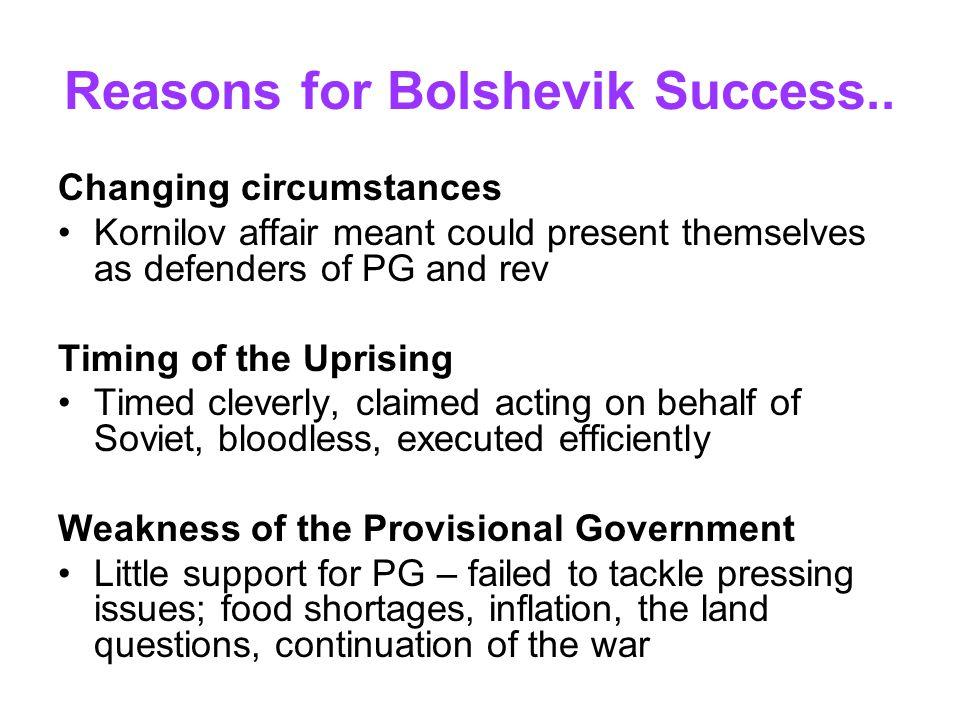 Reasons for Bolshevik Success..