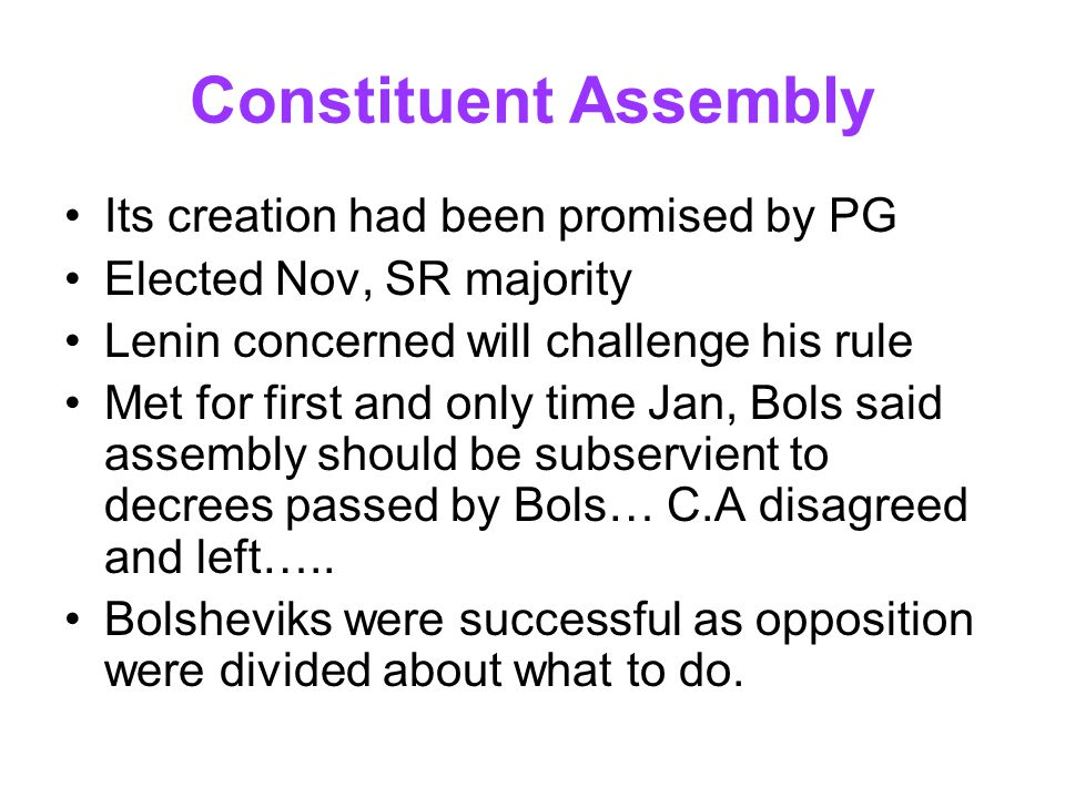 Constituent Assembly Its creation had been promised by PG