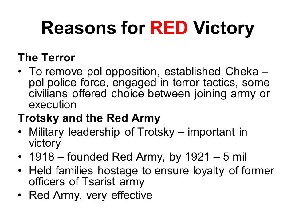 Reasons for RED Victory