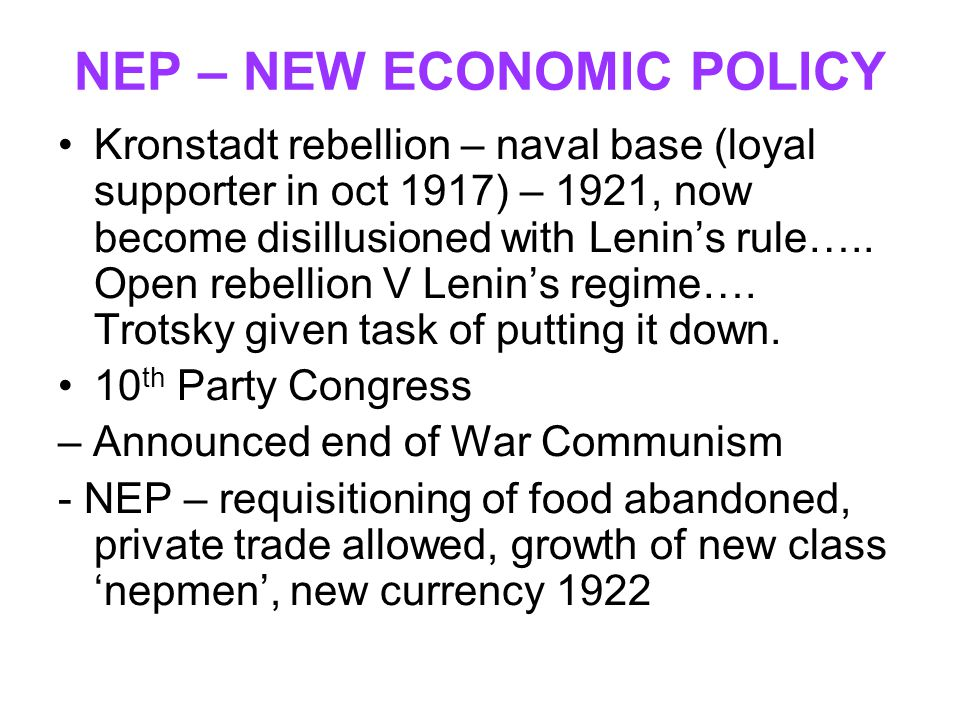 NEP – NEW ECONOMIC POLICY