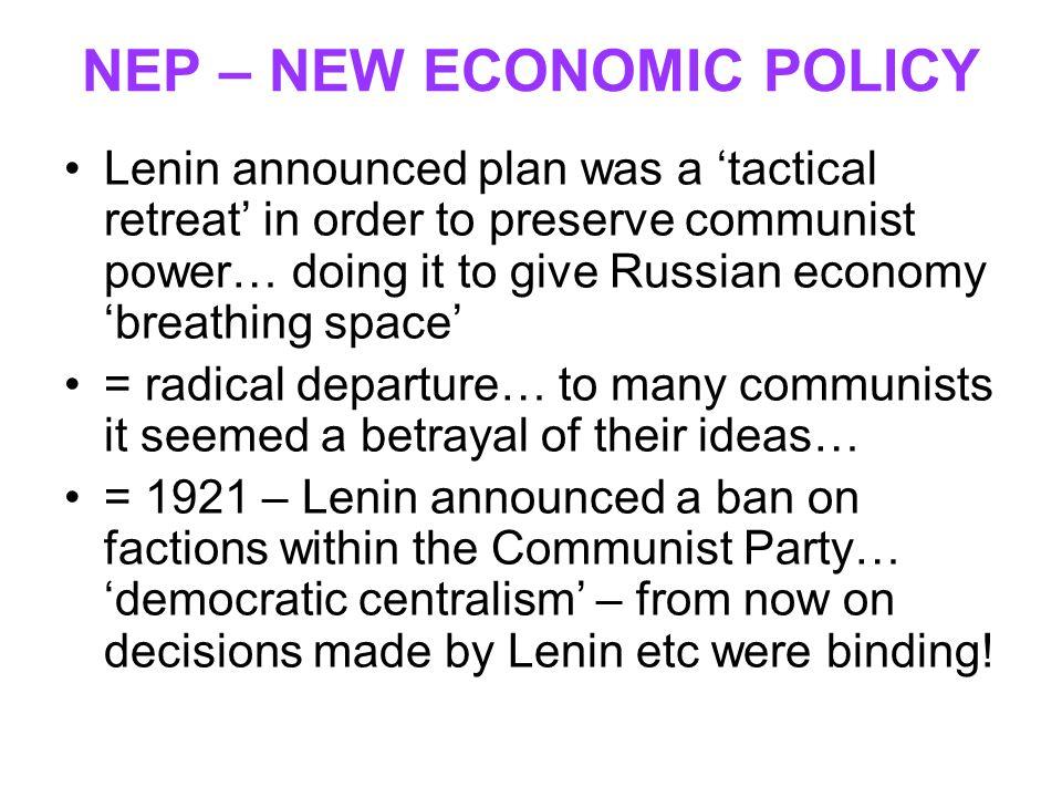 NEP – NEW ECONOMIC POLICY