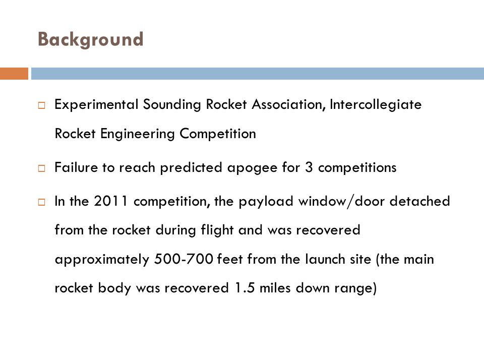 Background Experimental Sounding Rocket Association, Intercollegiate Rocket Engineering Competition.