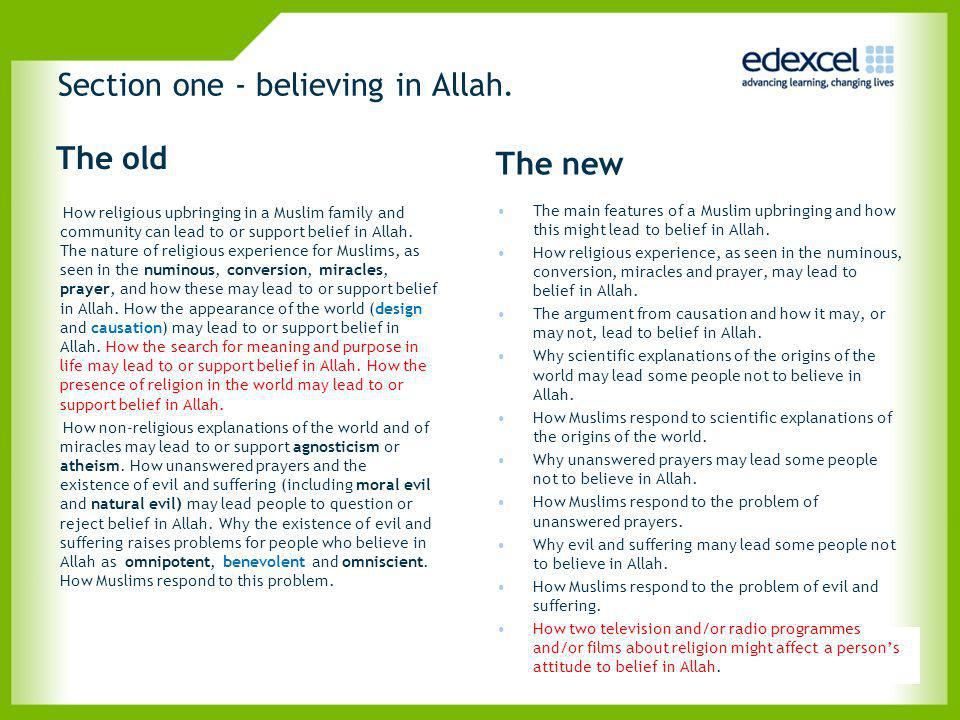 Section one - believing in Allah.
