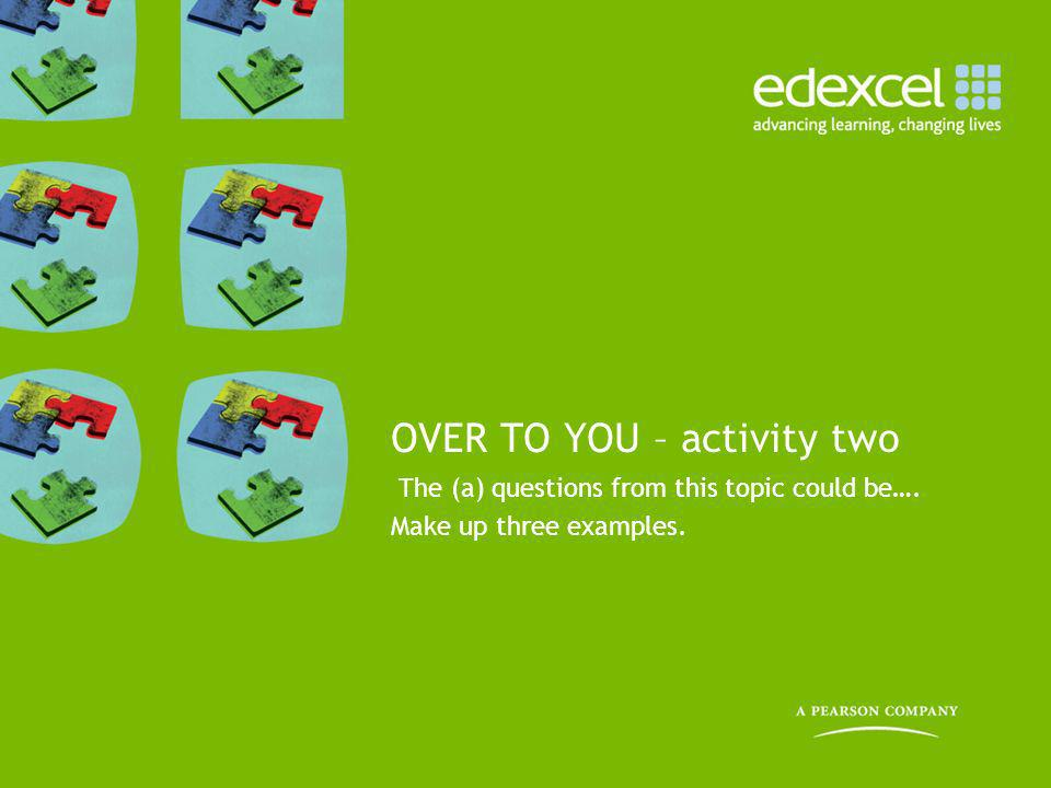 OVER TO YOU – activity two
