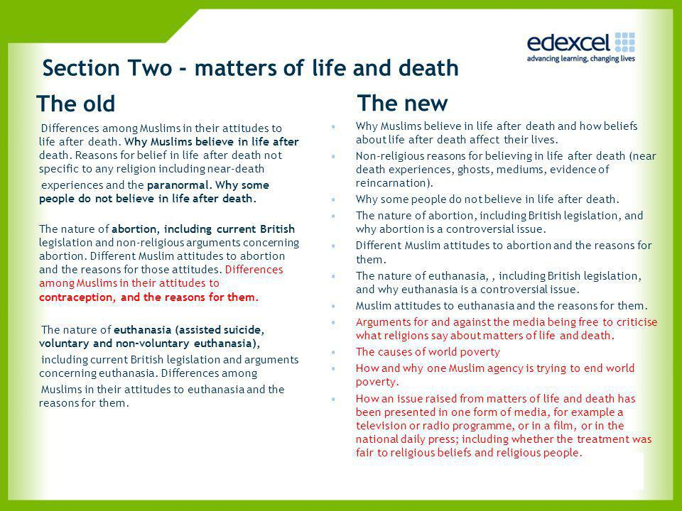 Section Two - matters of life and death