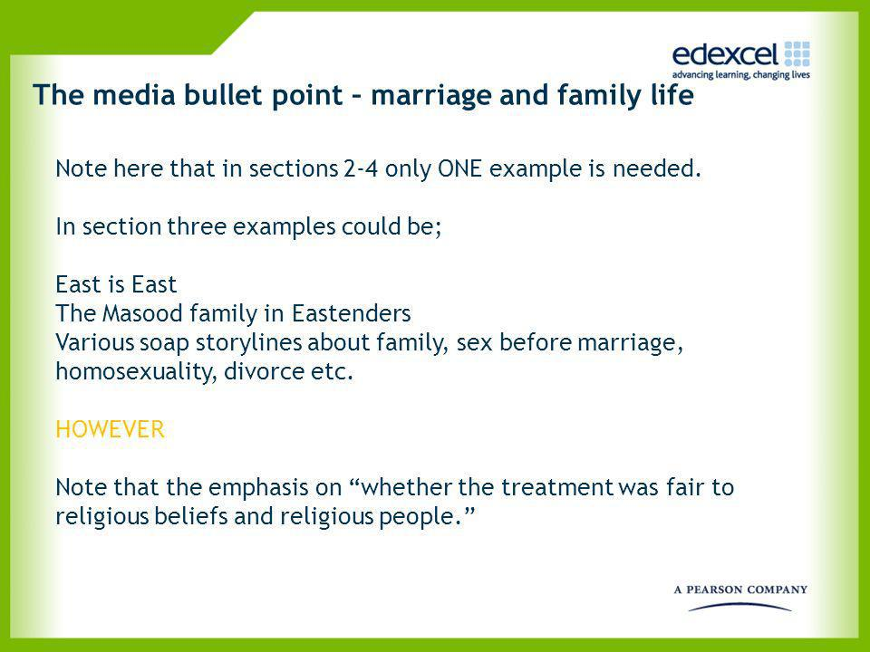 The media bullet point – marriage and family life