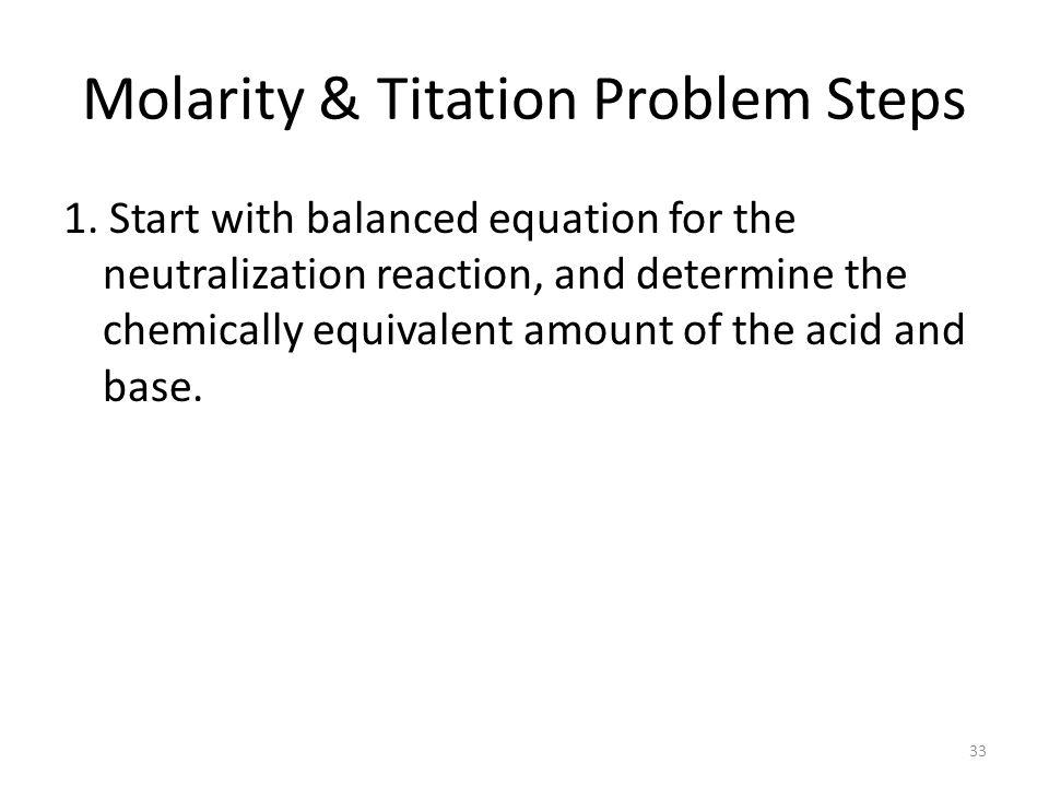 Molarity & Titation Problem Steps