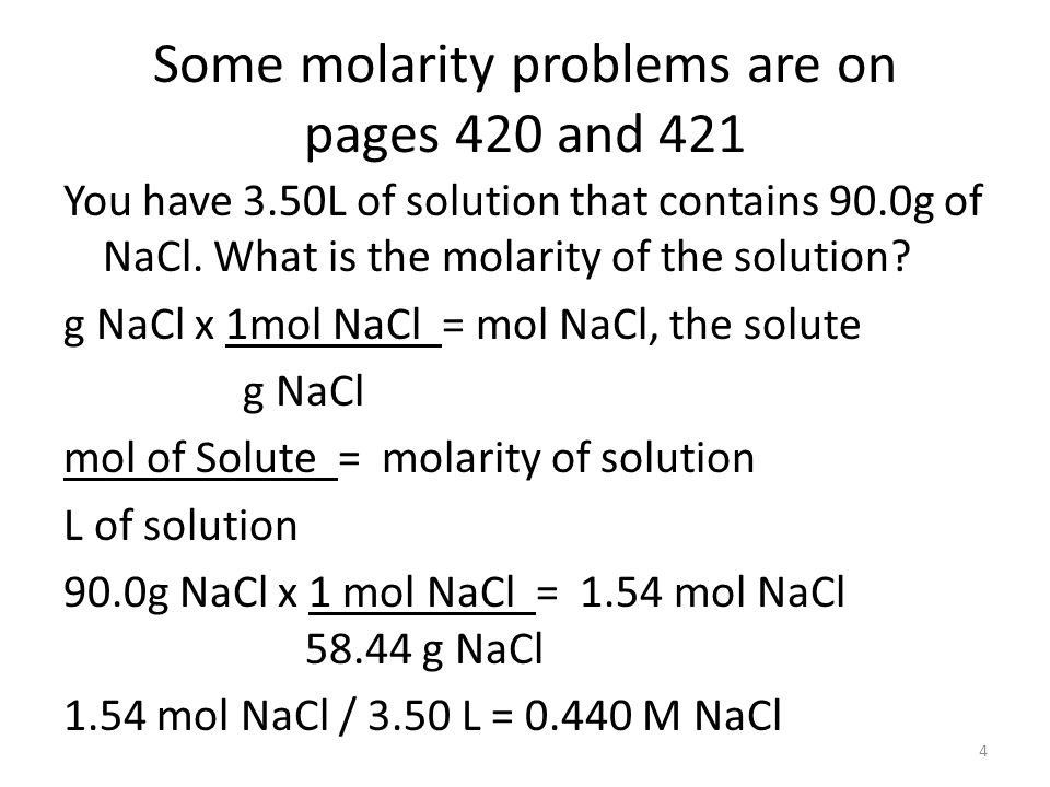 Some molarity problems are on pages 420 and 421