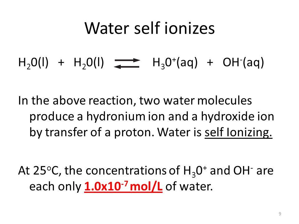Water self ionizes