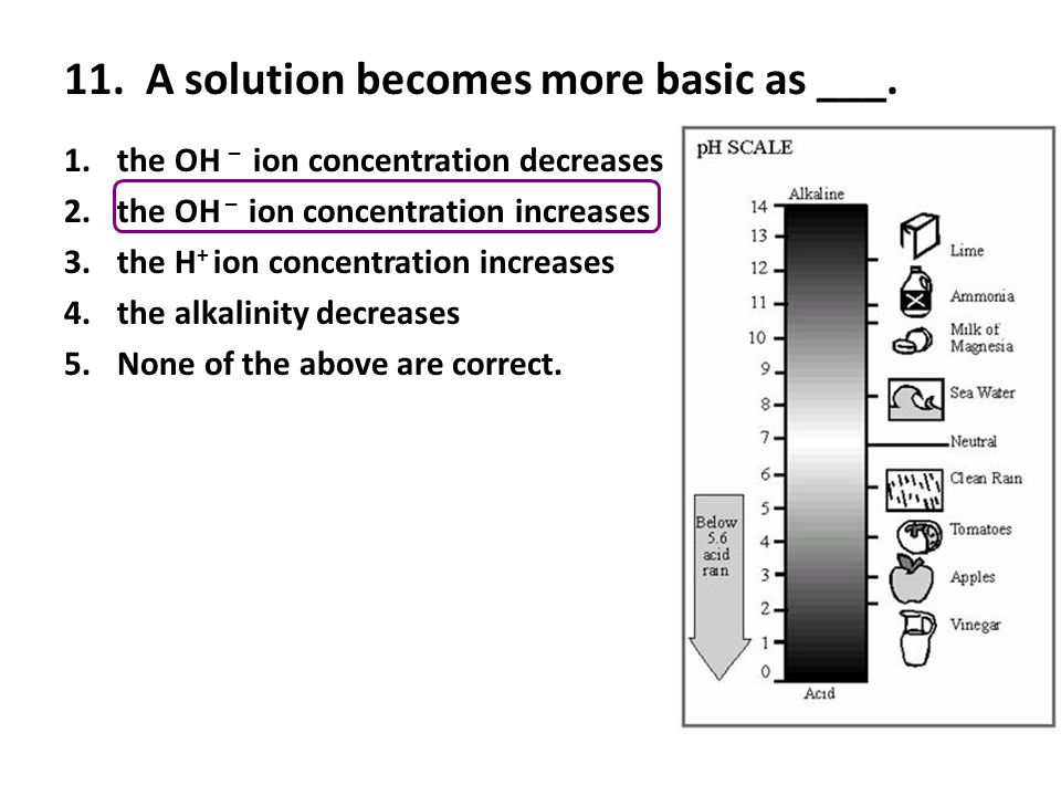 11. A solution becomes more basic as ___.