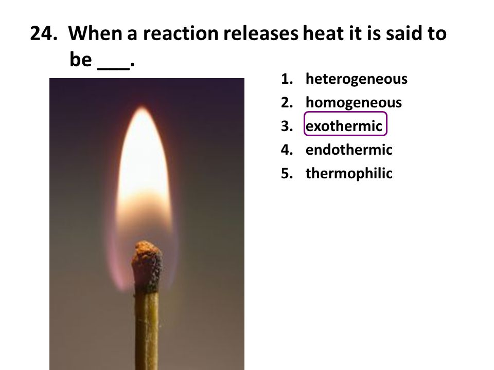 24. When a reaction releases heat it is said to be ___.