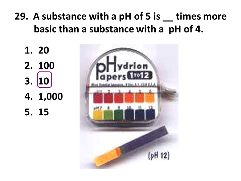 29. A substance with a pH of 5 is __ times more basic than a substance with a pH of 4.