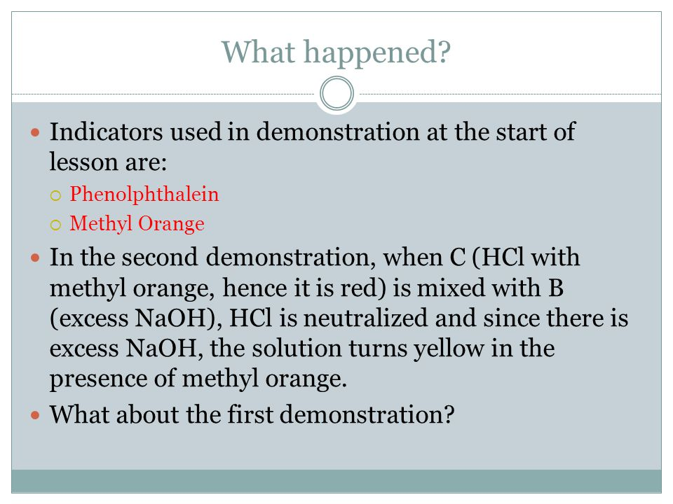 What happened Indicators used in demonstration at the start of lesson are: Phenolphthalein. Methyl Orange.