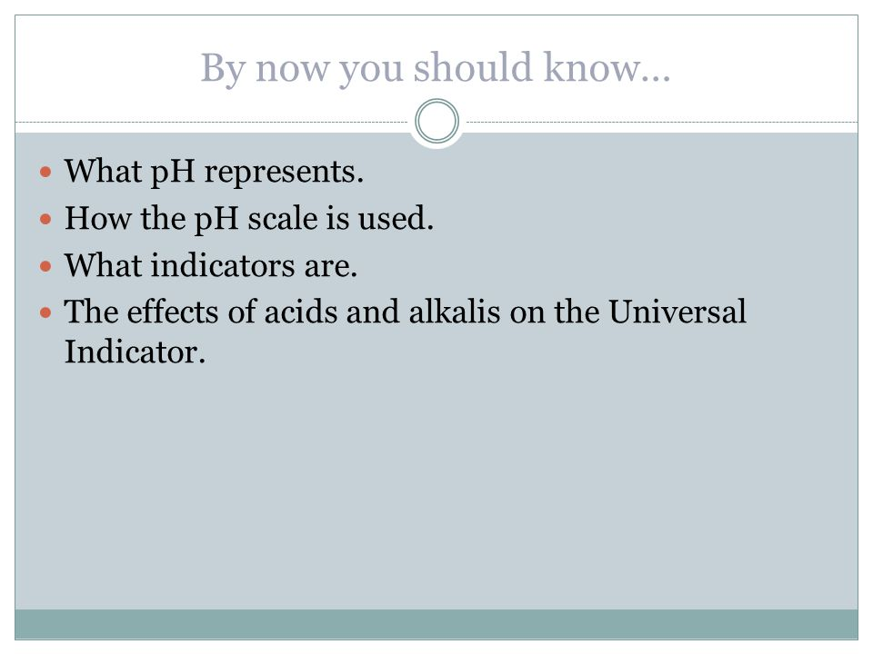 By now you should know… What pH represents. How the pH scale is used.