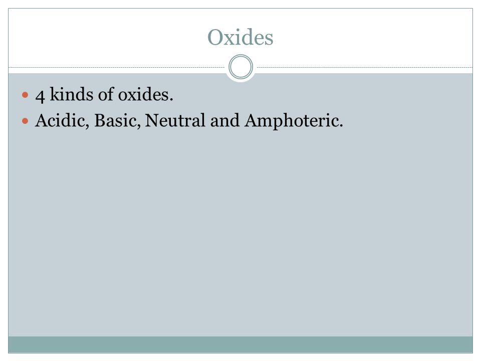 Oxides 4 kinds of oxides. Acidic, Basic, Neutral and Amphoteric.