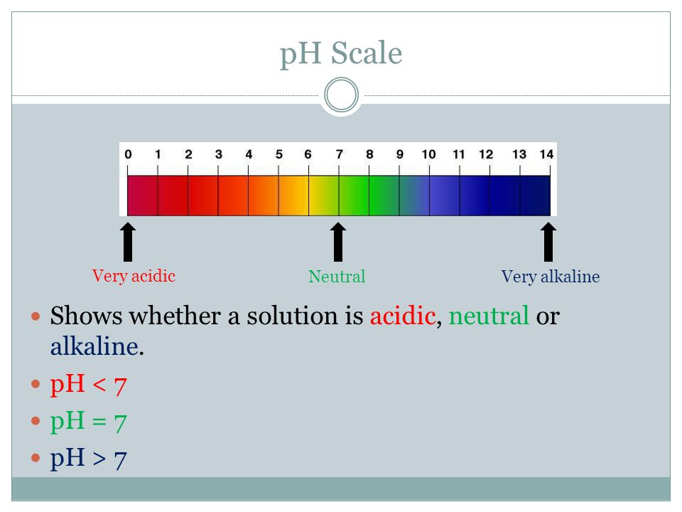 pH Scale Shows whether a solution is acidic, neutral or alkaline.