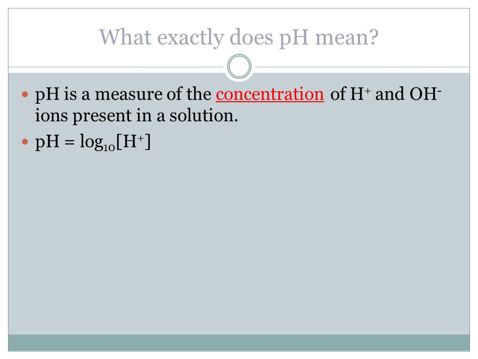 What exactly does pH mean